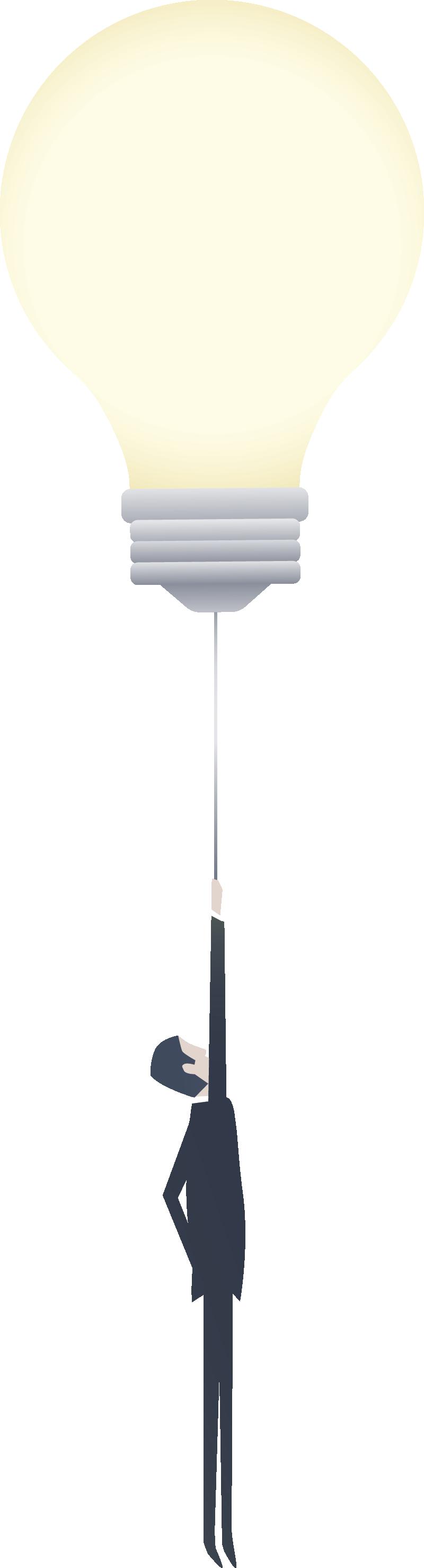 omino appeso ad una lampadina
